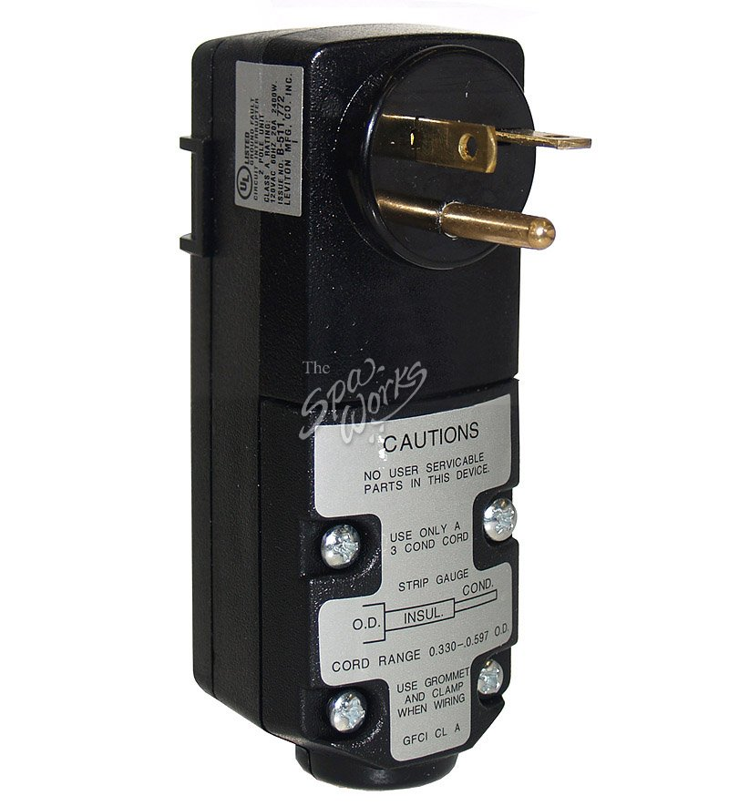 LEVITON 20 AMP, 120 VOLT, CORD END GFCI RIGHT ANGLE PLUG | The Spa Works