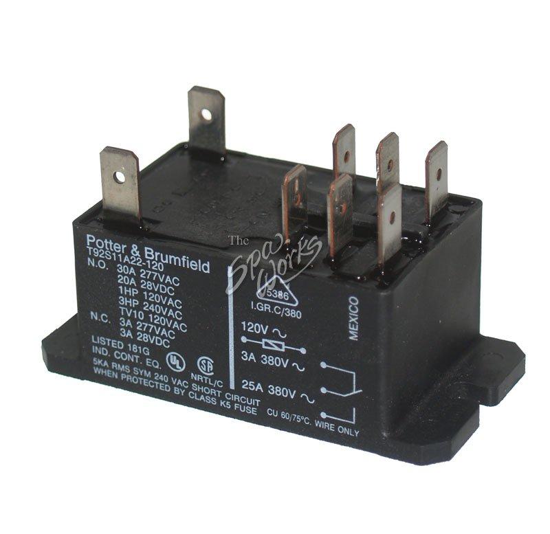 T92 DPDT 30 AMP RELAY 120 VOLT COIL | The Spa Works