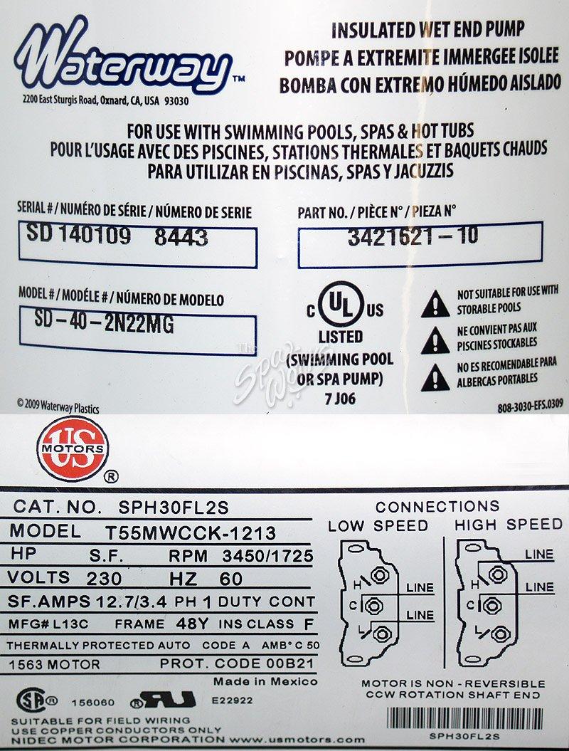 Piscines Es & Spas vita spa side discharge pump / motor, 2 speed, 4 hp, 48
