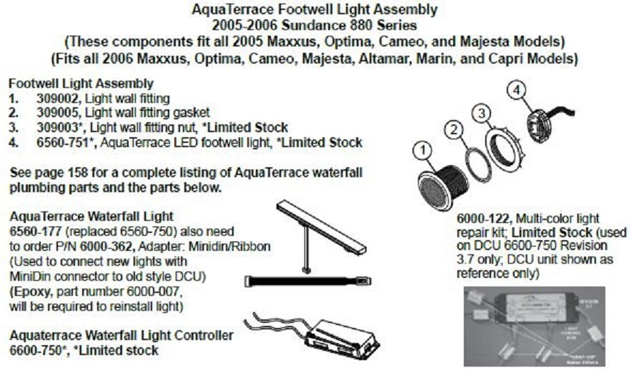 Aqua Terrace Led Footwell Light 2005 2006 The Spa Works